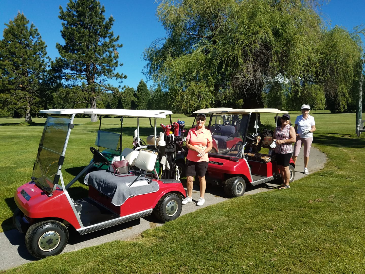 lady golfers with golf carts